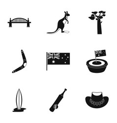 Landmarks of australia icon set simple style vector