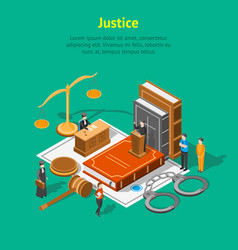 law justice composition concept card 3d isometric vector image