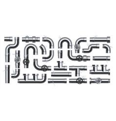 leak pipe broken realistic metal drain pipeline vector image