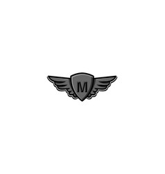 Letter m initial logo wing and badge shield vector