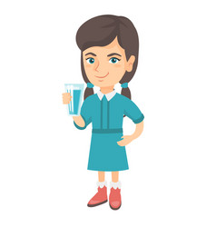 Little caucasian girl holding a glass of water vector