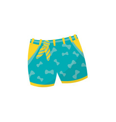 Little turquoise shorts with yellow pockets for vector