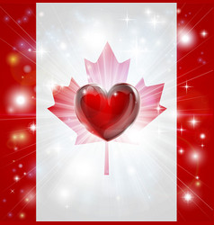 Love canada flag heart background vector
