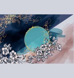 Luxury floral invitation card flowers vector
