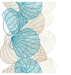 Marine seamless pattern with stylized seashells vector
