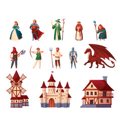 medieval characters set vector image