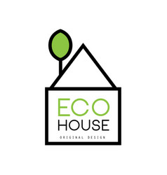 minimalistic logo of eco-house with green vector image