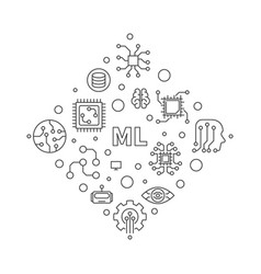 ml or machine learning outline minimal vector image