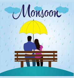 monsoon couple sitting on bench vector image