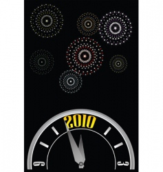 new year clock fireworks vector image