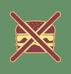 No burger sign cordovan icon and mellow vector