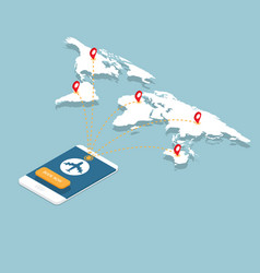 online booking on smartphone with airplane flight vector image