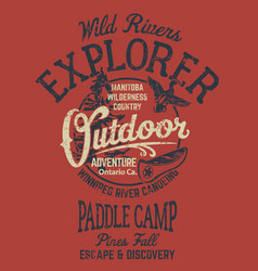 Ontario rivers canoe camp adventure vector