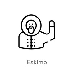 Outline eskimo icon isolated black simple line vector