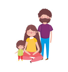 Parents and little son characters family vector