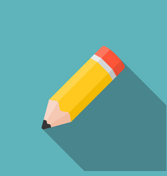 Pencil icon with long shadow vector