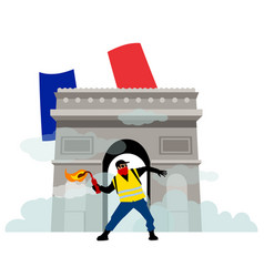 people in yellow vests with molotov coctail vector image