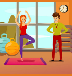 Personal yoga instructor composition vector