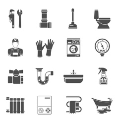Plumbing Service Icons Set vector