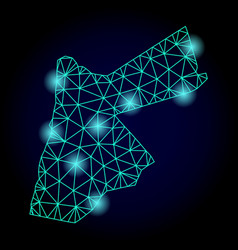 Polygonal 2d mesh map of jordan with light spots vector