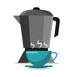 pot coffee maker and cup hot vector image