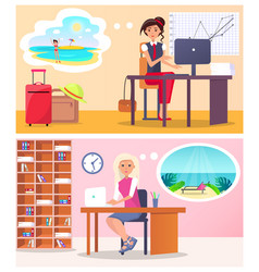 pretty women works in office vector image