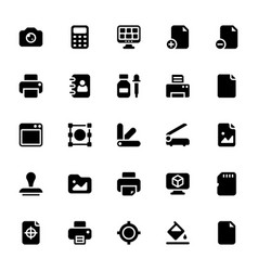 Printing house glyph icons vector