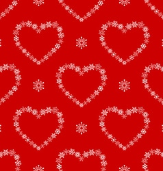 Red seamless pattern with snowflake hearts vector image