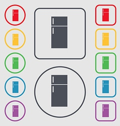 Refrigerator icon sign symbol on the Round and vector