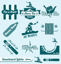 Retro Snowboarding Labels vector image