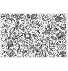 russia doodle set vector image