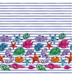 seamless pattern seashells and marine vector image