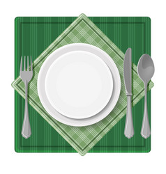 Served dinner plate with cutlery spoon fork and vector