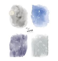 Set art winter watercolor and doodle vector