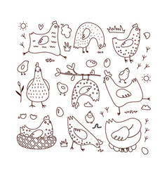 set doodle with hens vector image