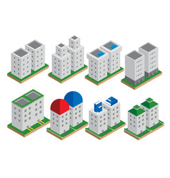 set isometric elements skyscrapers park vector image