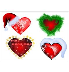 set of christmas heart vector image