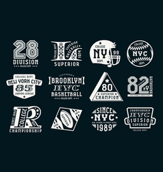 set of emblems in sport style vector image