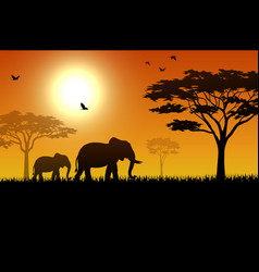 Silhouette of elephant in the savanna vector