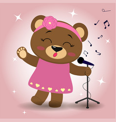 singer bear brown in a pink dress and a wreath vector image