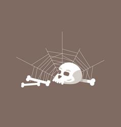 Skull and bones semi flat rgb color vector