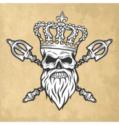 Skull crown and scepter Line art style vector