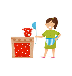 smiling girl playing with cardboard toy kitchen vector image
