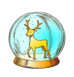 snow globe with deer souvenir hand drawn color vector image