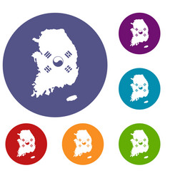 South korea map with flag icons set vector
