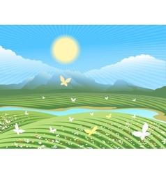 Spring farm landscape vector image