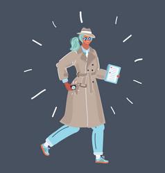Spy woman in coat vector