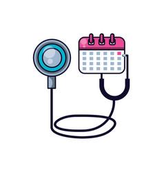 Stethoscope medical with calendar reminder vector