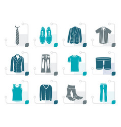Stylized man fashion and clothes icons vector