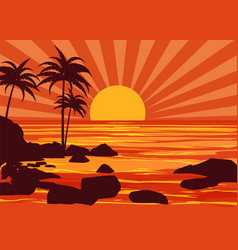 Summer beatiful sunset backgrounds coast seashore vector